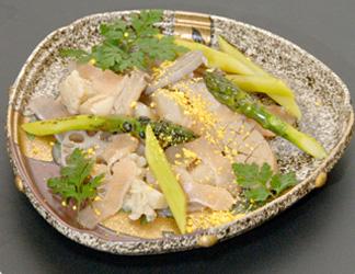 焼き野菜のマリネと地鶏の生ハム